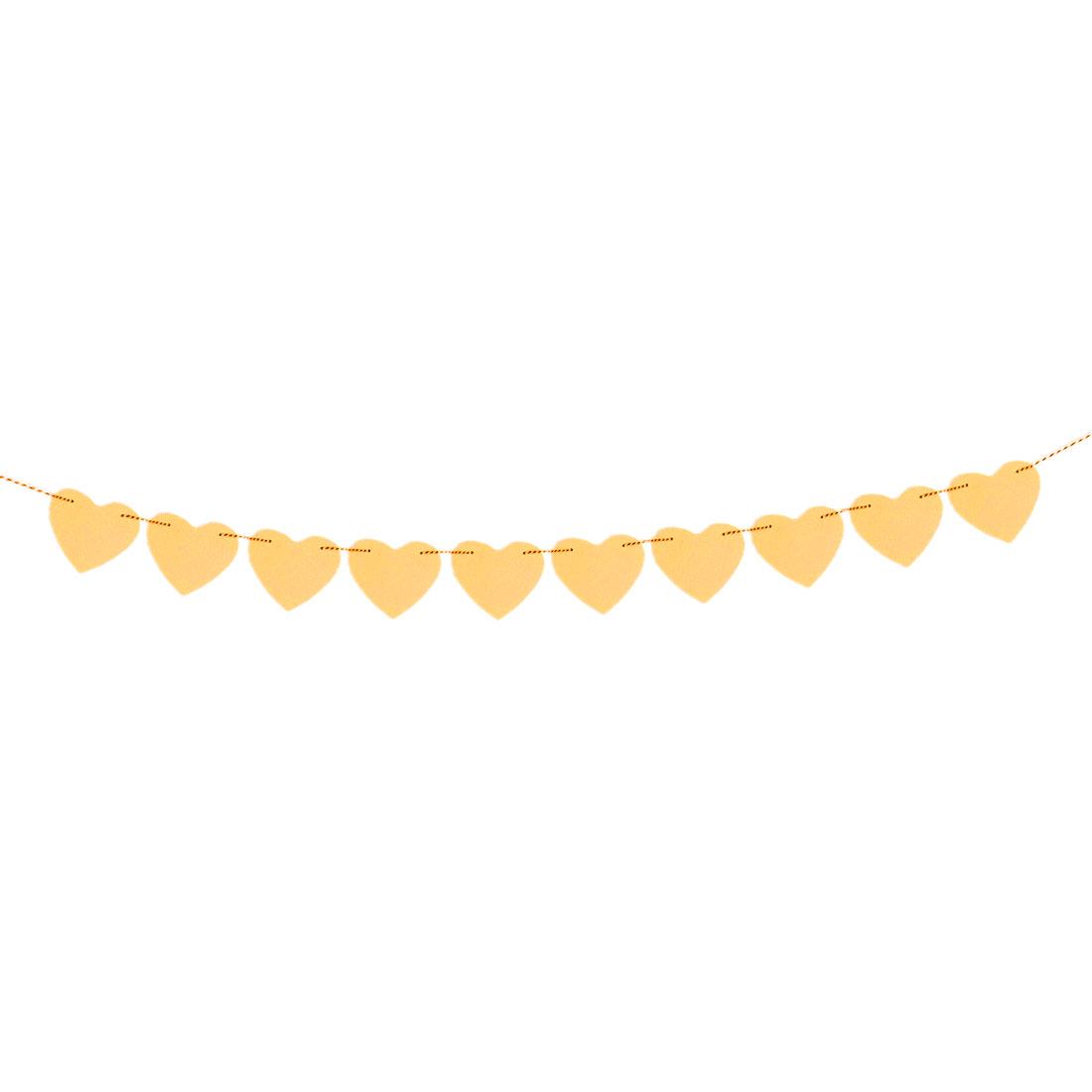 Paper Heart Shaped Party Decoration Photo Prop Bunting Banner Yellow 3 Meter Length