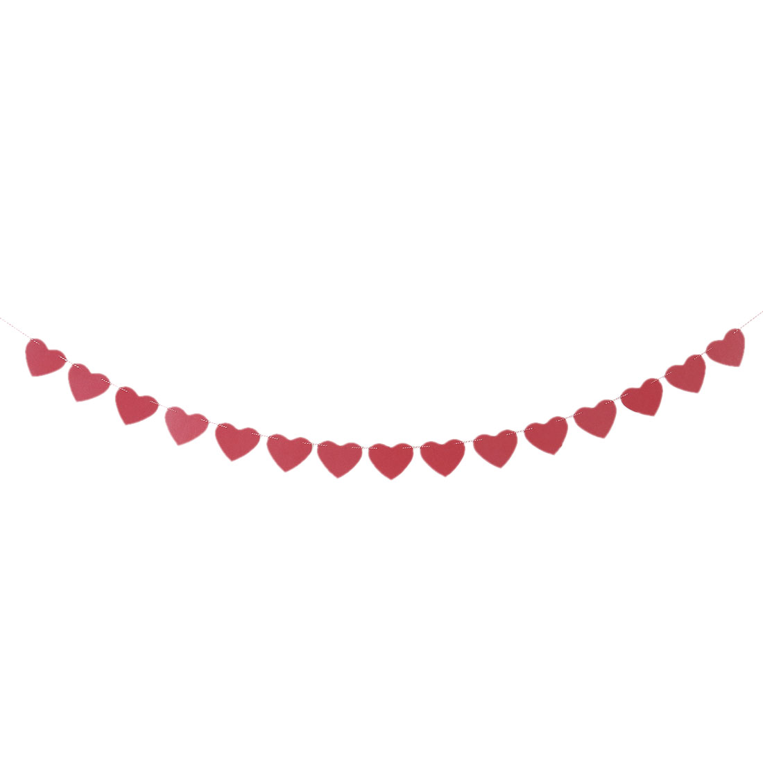 Paper Heart Shaped Party Decoration Photo Prop Bunting Banner Red 3 Meter Length