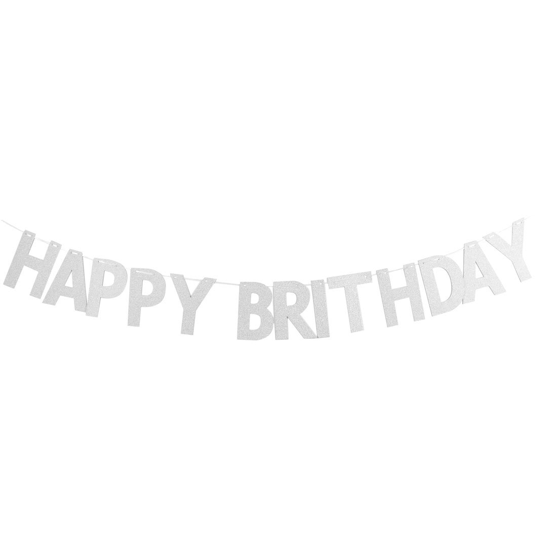 Paper HAPPY BIRTHDAY Letters Decor Photo Prop Bunting Banner Silver Tone Set