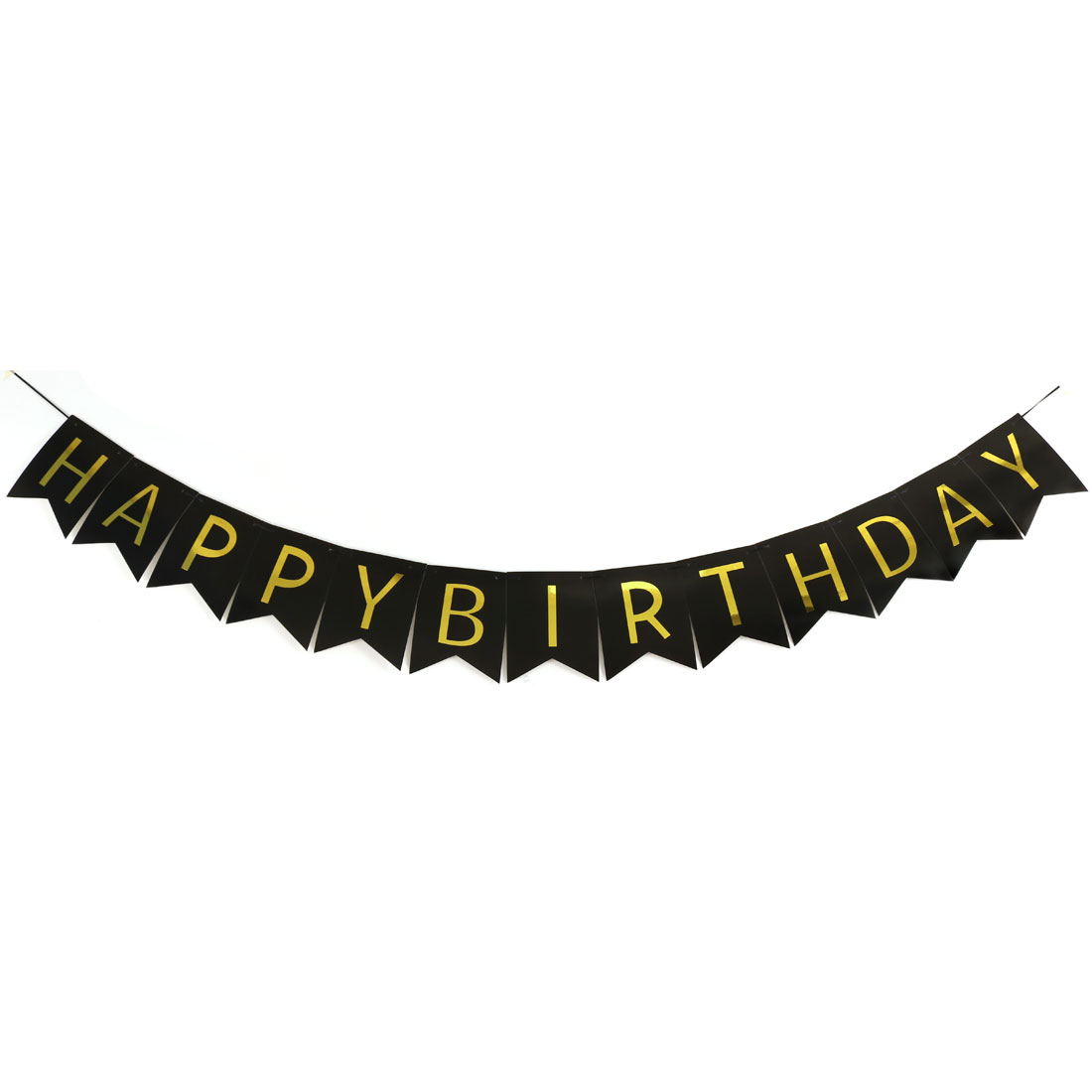 Paper HAPPY BIRTHDAY Letter Print DIY Party Hanger Decor Photo Prop Banner Black