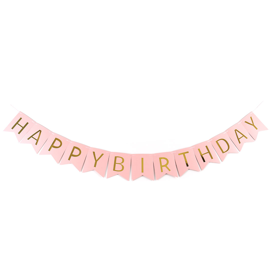 Paper HAPPY BIRTHDAY Letter Print DIY Party Hanger Decor Photo Prop Banner Pink