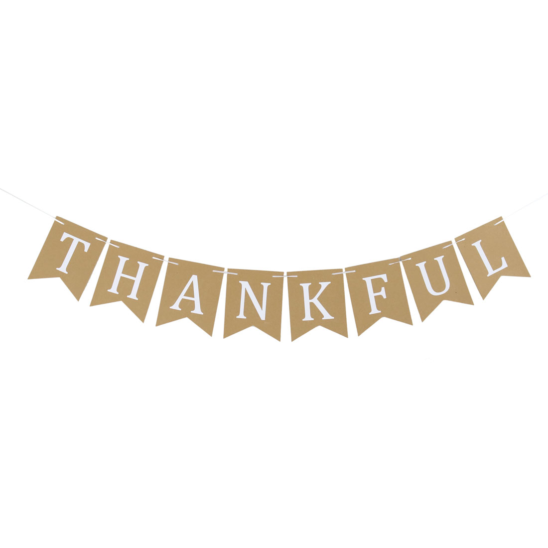 THANKFUL Letter Design DIY Party Decoration Photo Prop Bunting Banner Khaki White