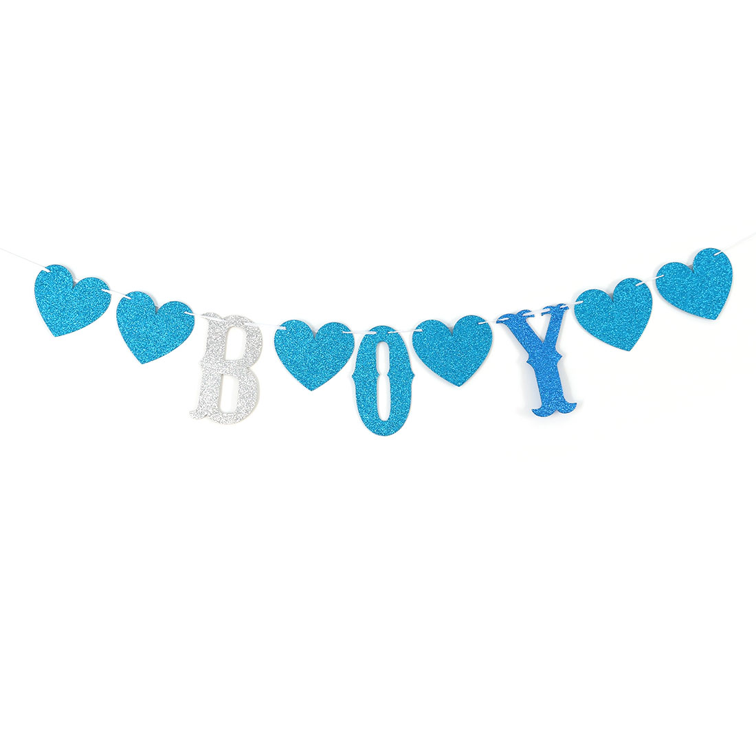 BOY Letter Print DIY Party Ornament Rope Hanging Photo Prop Bunting Banner Set