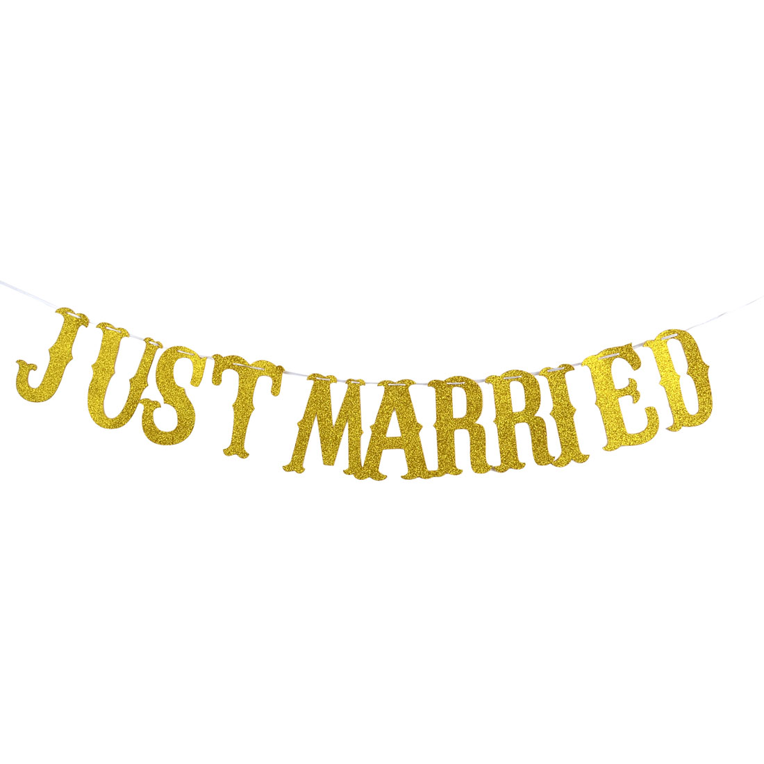 Weeding EVA JUST MARRIED Letters Decor Photo Prop Bunting Banner Gold Tone Set