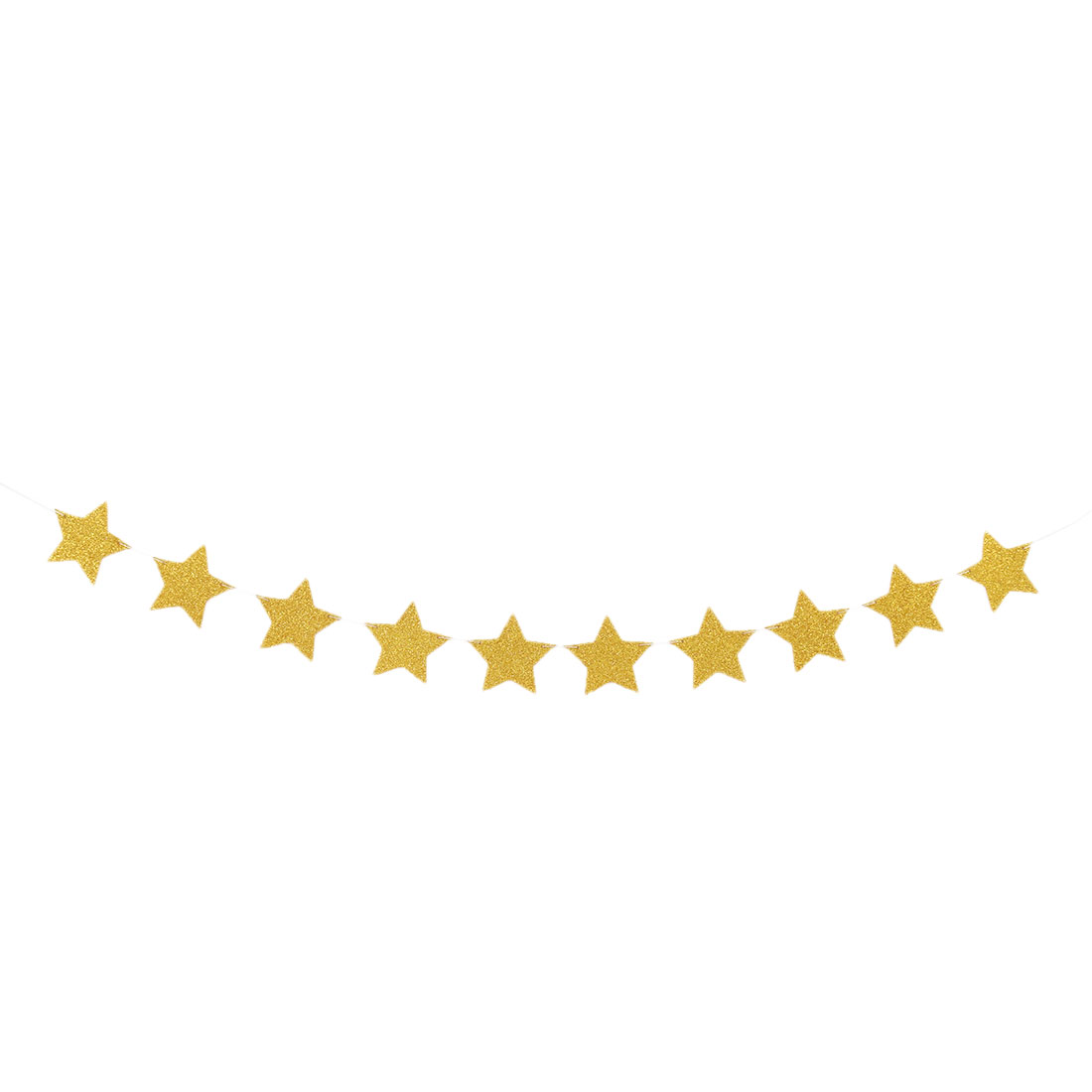 EVA Star Shape Glitter Party Decoration DIY Craft Photo Prop Bunting Banner Gold Tone