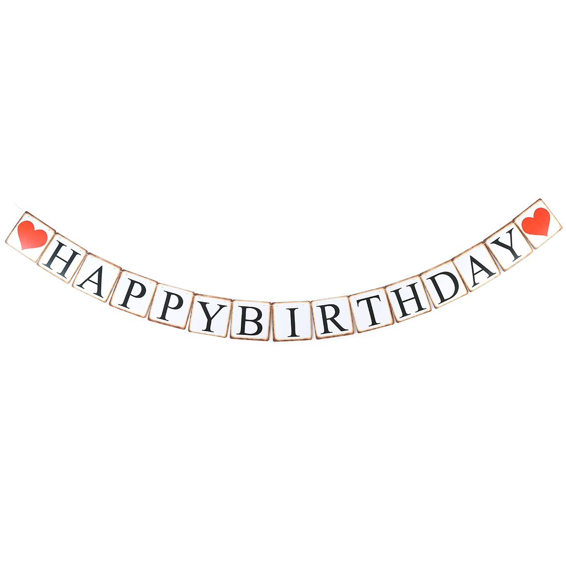 Birthday Party Square Cards Rope Hanger Decoration Photo Prop Bunting Banner