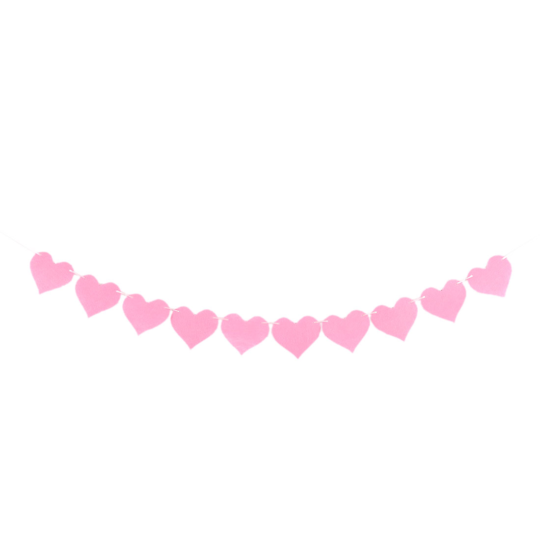 Non-woven Fabric Heart Shaped Wedding Decoration Photo Prop Bunting Banner Pink