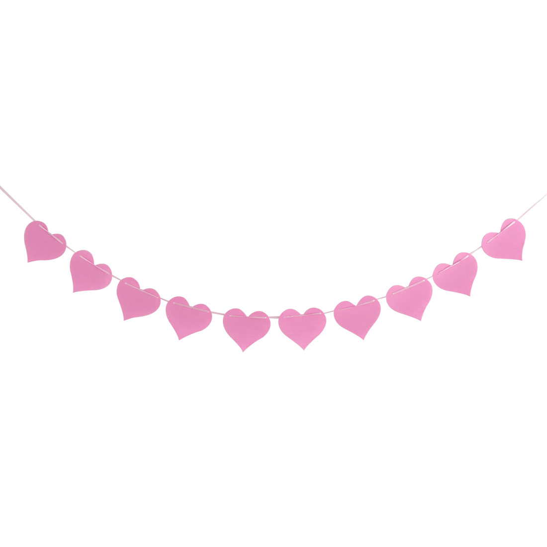 Non-woven Fabric Heart Shaped DIY Festival Decor Photo Prop Bunting Banner Pink