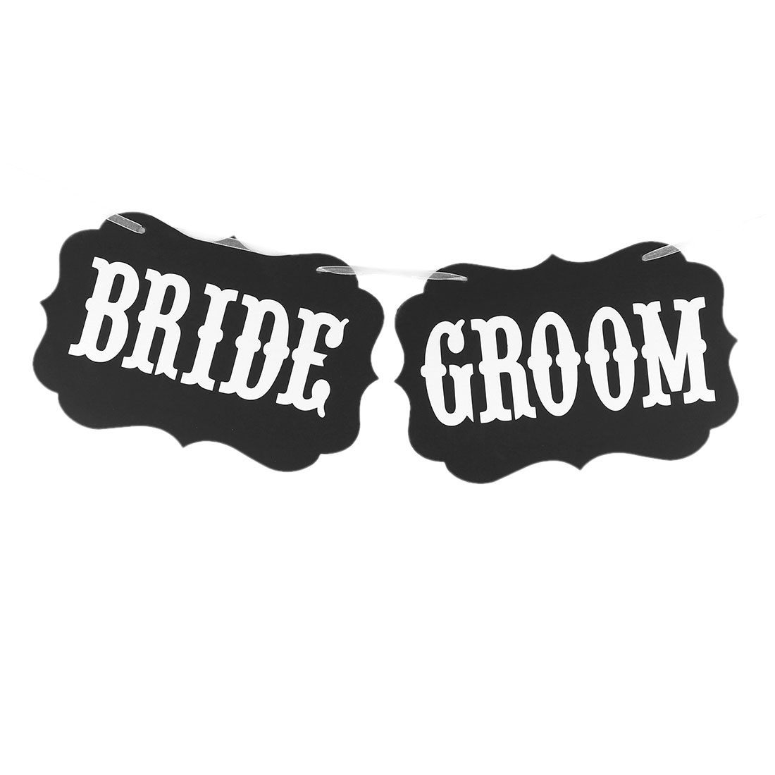 BRIDE GROOM Letter Pattern Wedding Party DIY Decor Photo Prop Banner White Black