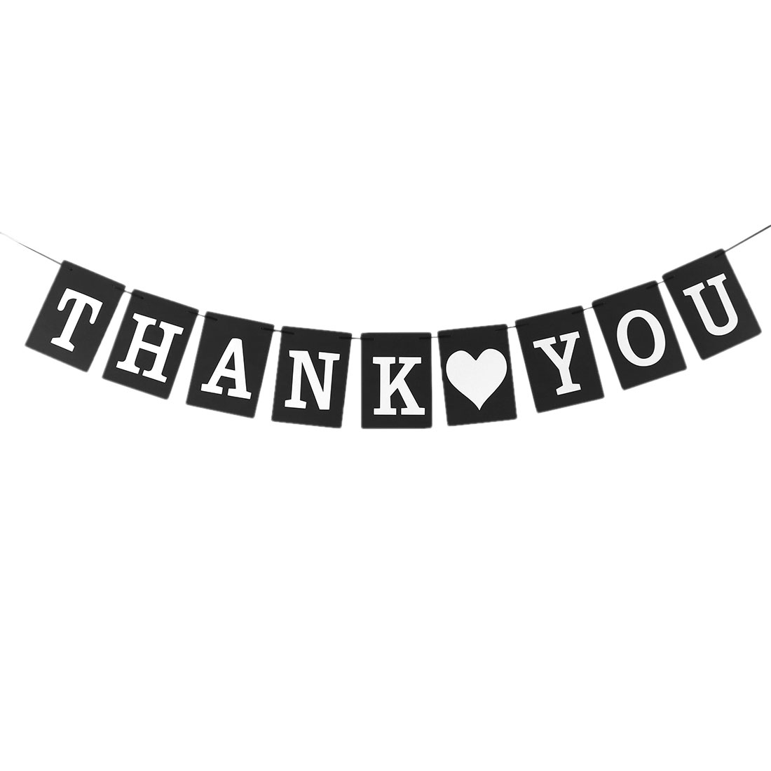 THANK YOU Letter Print Card Rope Hanging DIY Party Photo Prop Banner Black White