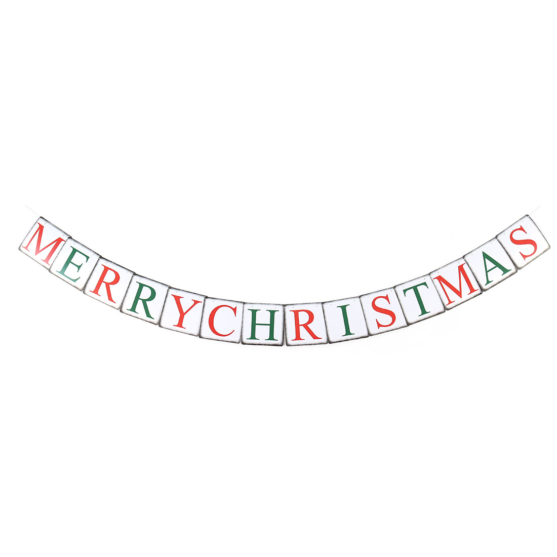 Christmas Day Paper Letter Print Square Cards Rope Hanging Decoration Photo Prop Banner