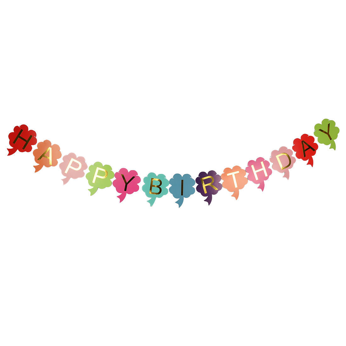 Party Paper HAPPY BIRTHDAY Letters Flower Shape DIY Photo Prop Banner Multicolor