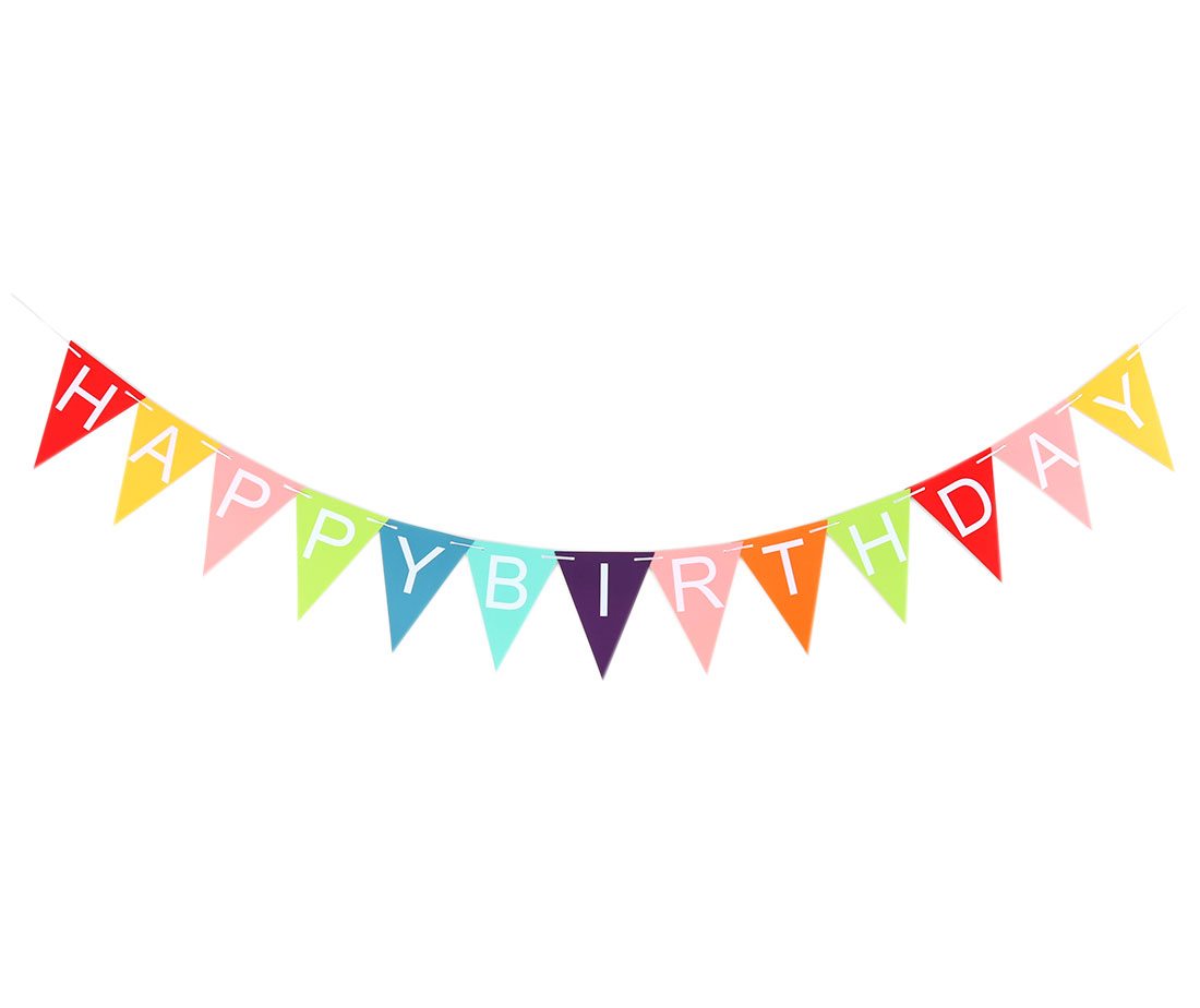 HAPPY BIRTHDAY Letter Print Triangle Shaped DIY Party Decor Photo Prop Banner Multicolor
