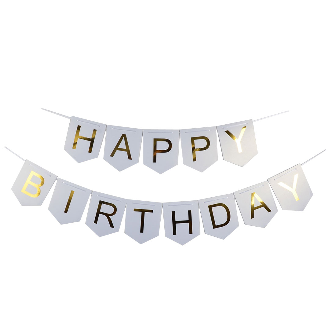 Paper HAPPY BIRTHDAY Letters Ornament Photo Prop Bunting Banner White Gold Tone