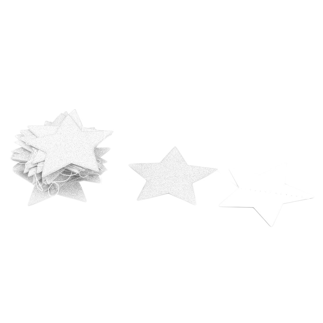 Paper Star Shape Glitter Party Decoration DIY Craft Photo Prop Bunting Banner Silver Tone