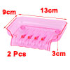 Family Bathroom Plastic Suction Cup Soap Holder Storage Box Case Tray Fuchsia 2pcs
