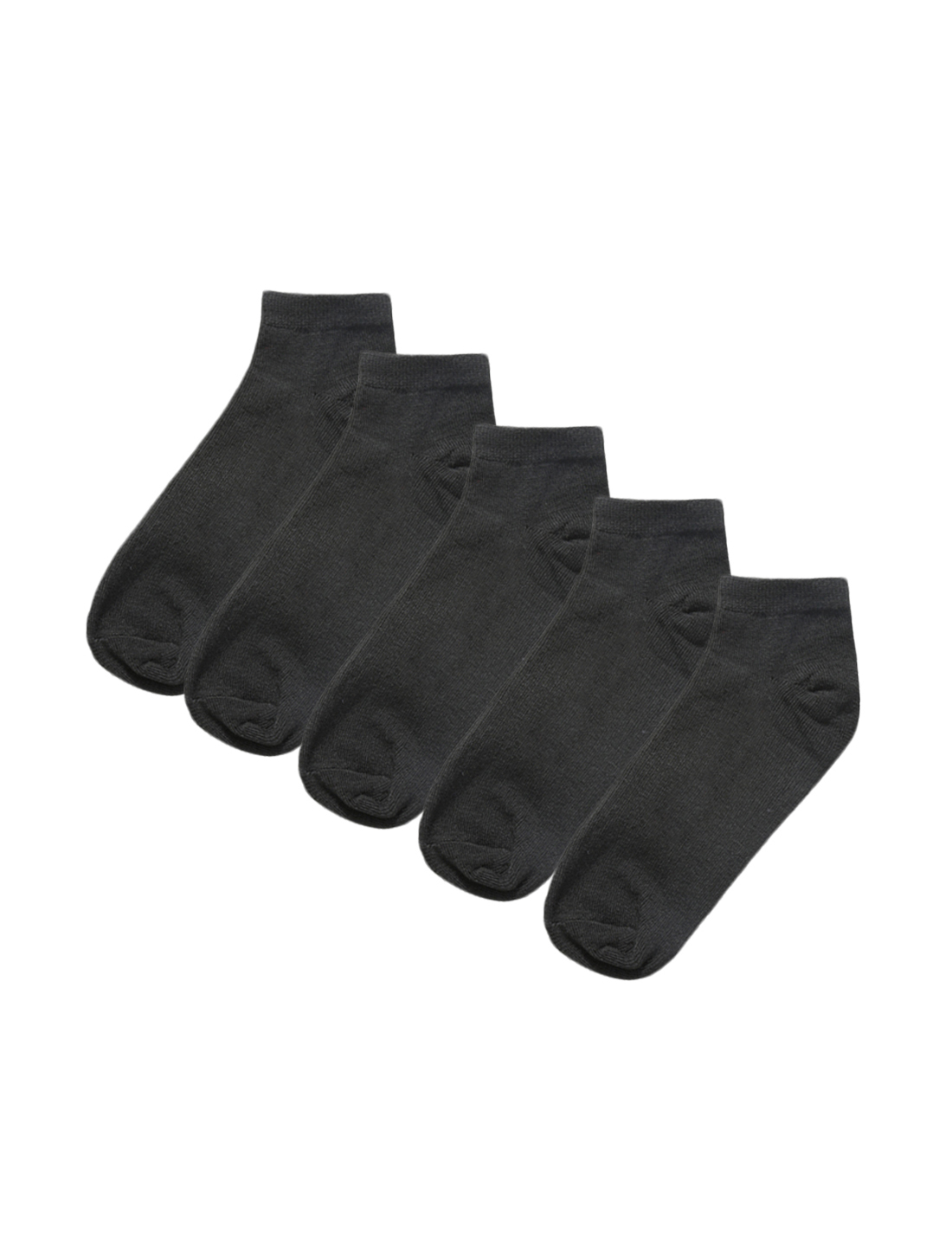 Athletic Low Cut Ankle Socks Elastic Cuff 5 Pairs Black M