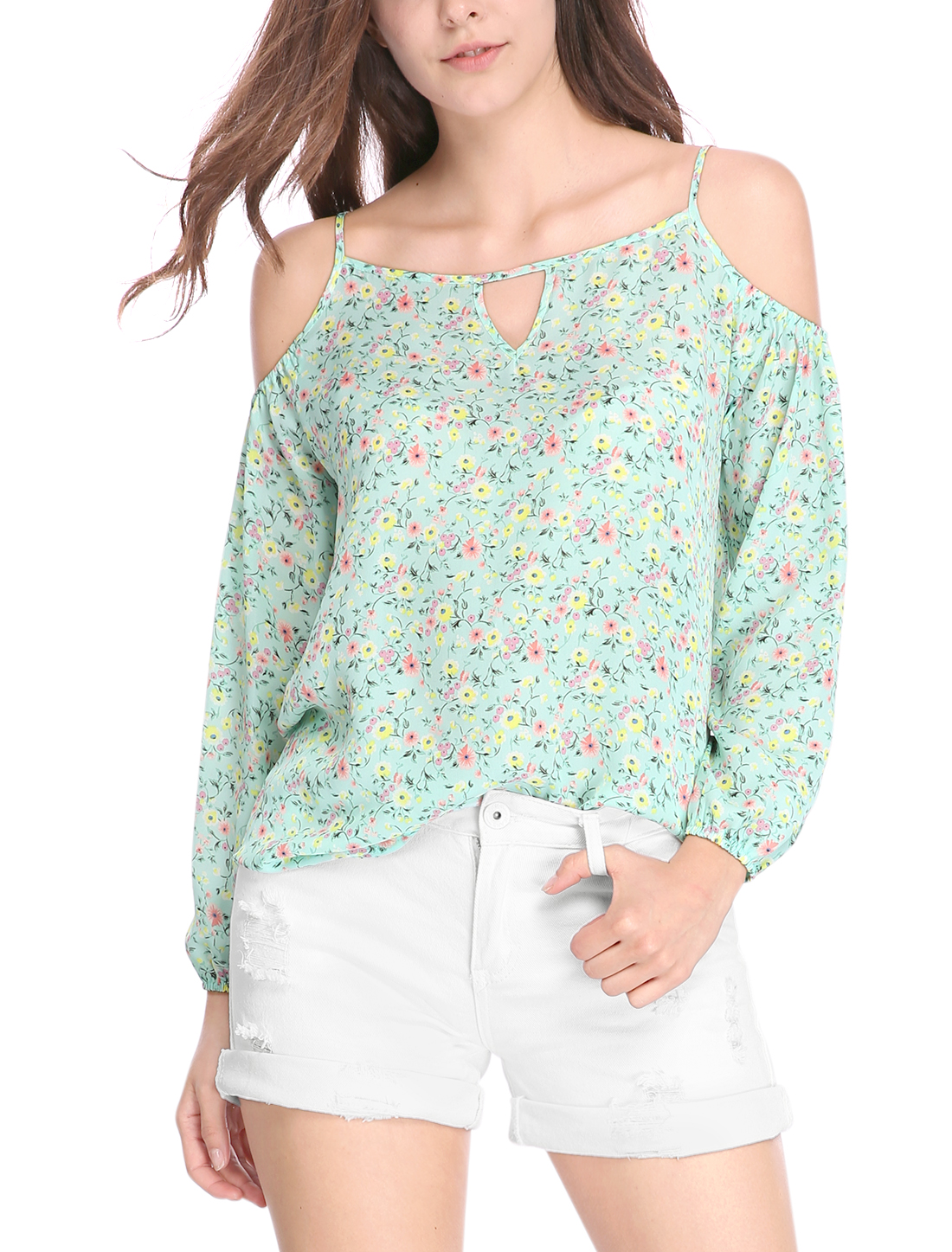Women Cold Shoulder Keyhole Front Loose Floral Top Green XS