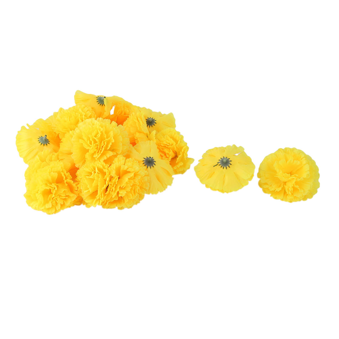 Wedding Party Fabric Artificial Carnation Flower Heads DIY Craft Decor Yellow 20pcs