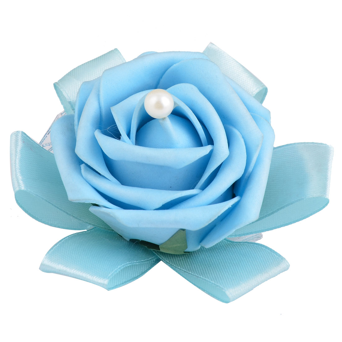 Wedding Foam Rose Design Bridesmaid Hand Decorative Artificial Wrist Flower Sky Blue