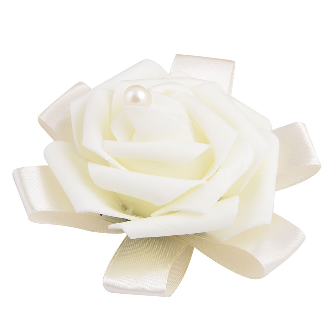 Wedding Foam Rose Design Bridesmaid Hand Decorative Artificial Wrist Flower Off White