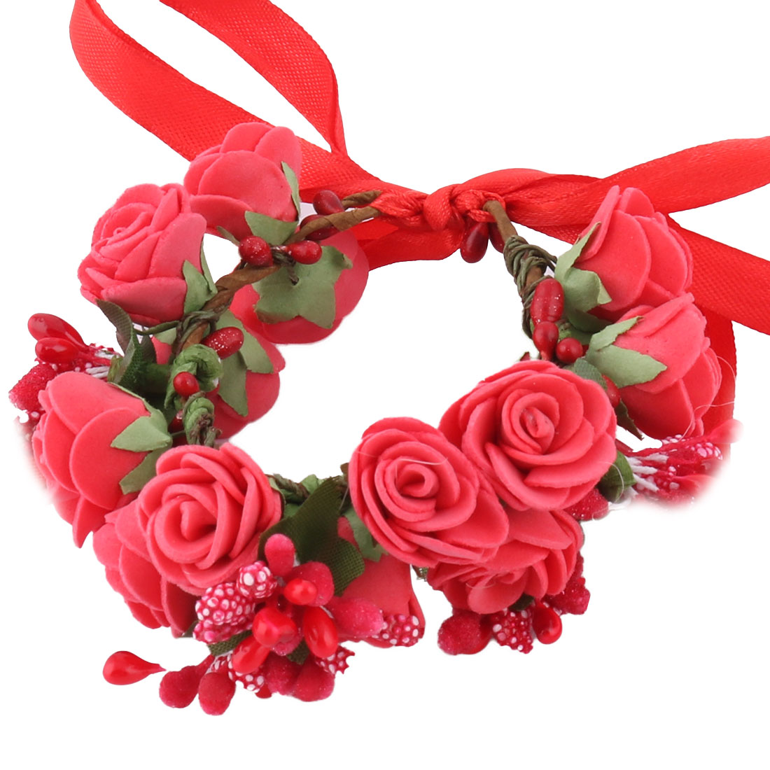 Bride Wedding Foam Double Layer Artificial Wrist Flower Craft DIY Decor Red