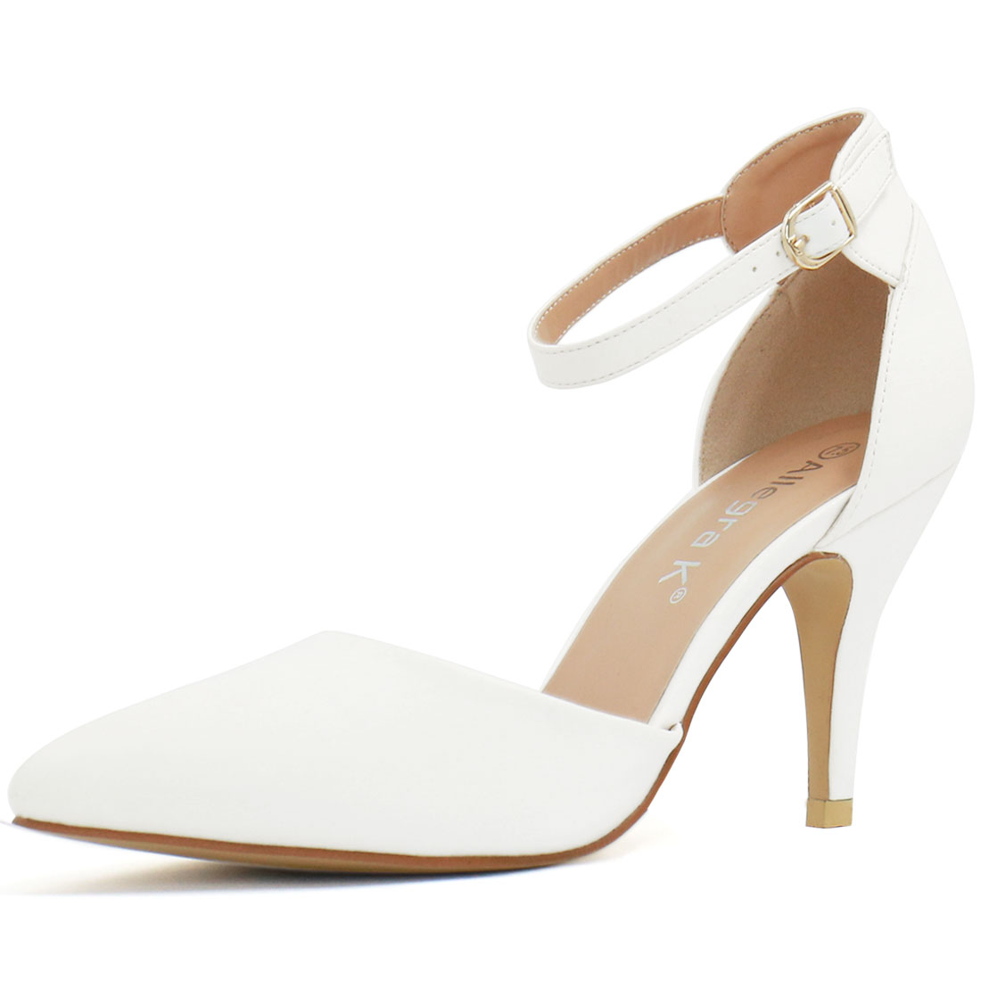 Woman Pointed Toe Stiletto Heel Ankle Strap Pumps White US 7