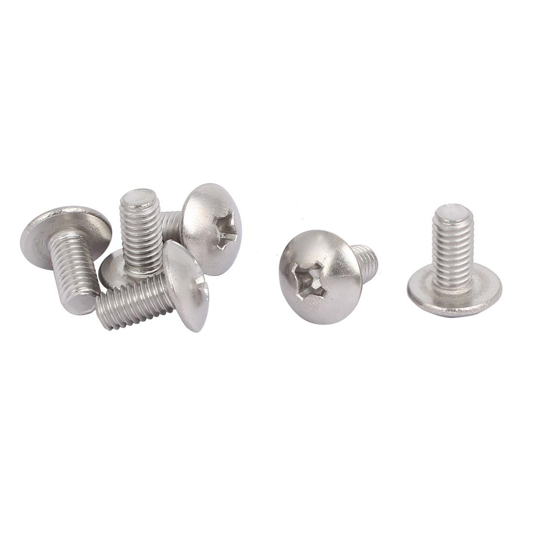 M6 x 12mm 316 Stainless Steel Truss Phillips Head Machine Screws 6pcs