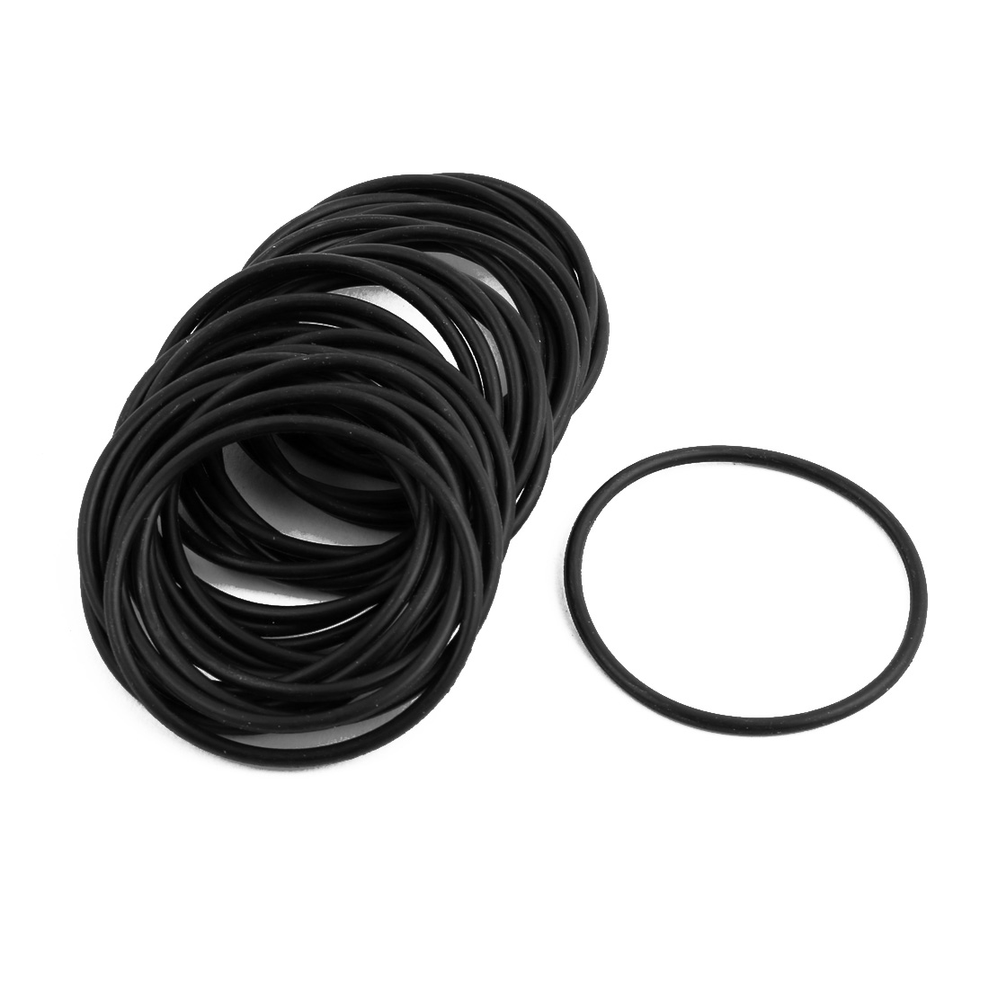 30Pcs Black 41mm Dia 2mm Thickness Flexible Rubber O Ring NBR Sealing Grommets