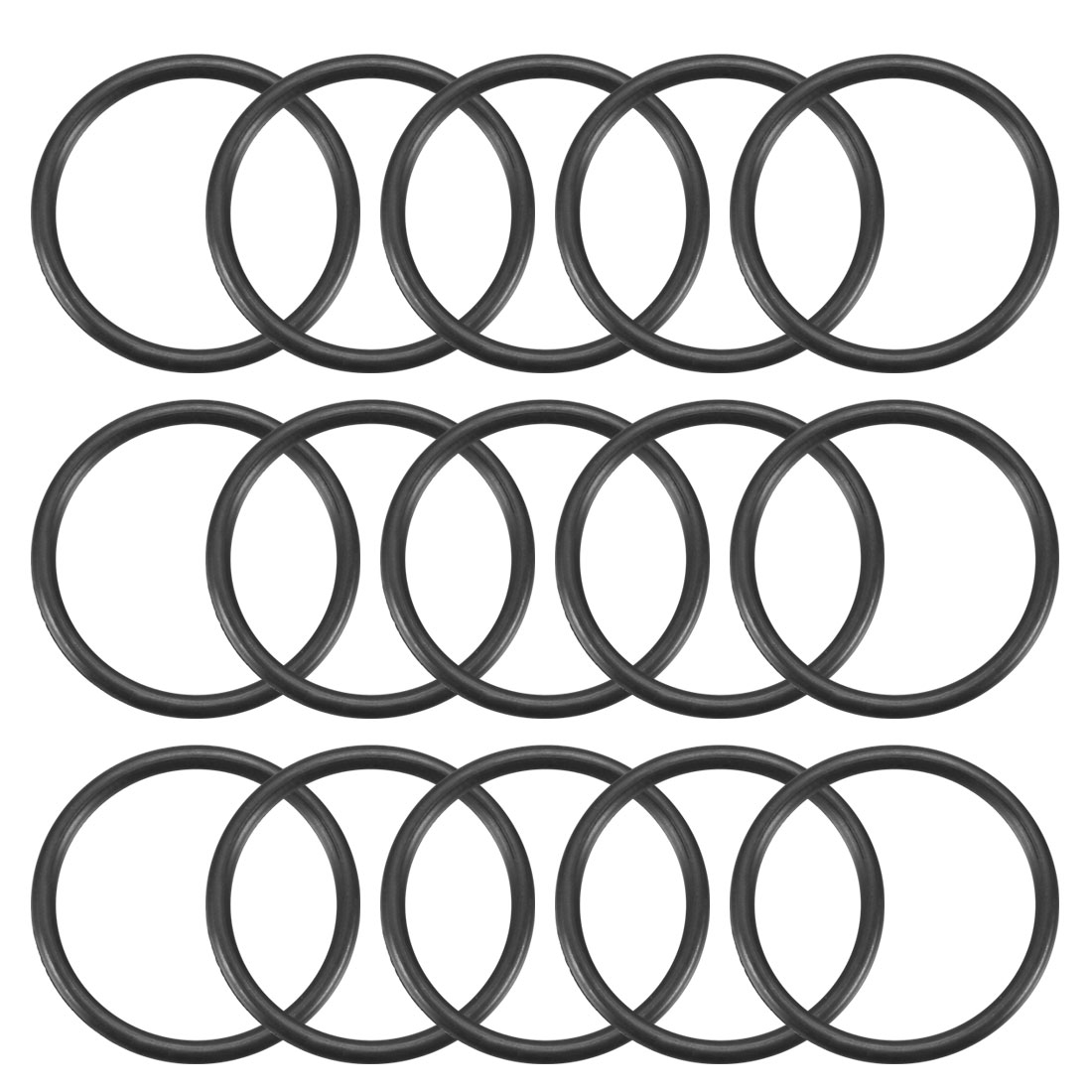 15 Pcs Black 25mm x 2mm NBR Oil Resistant Sealing Ring O-shape Grommets