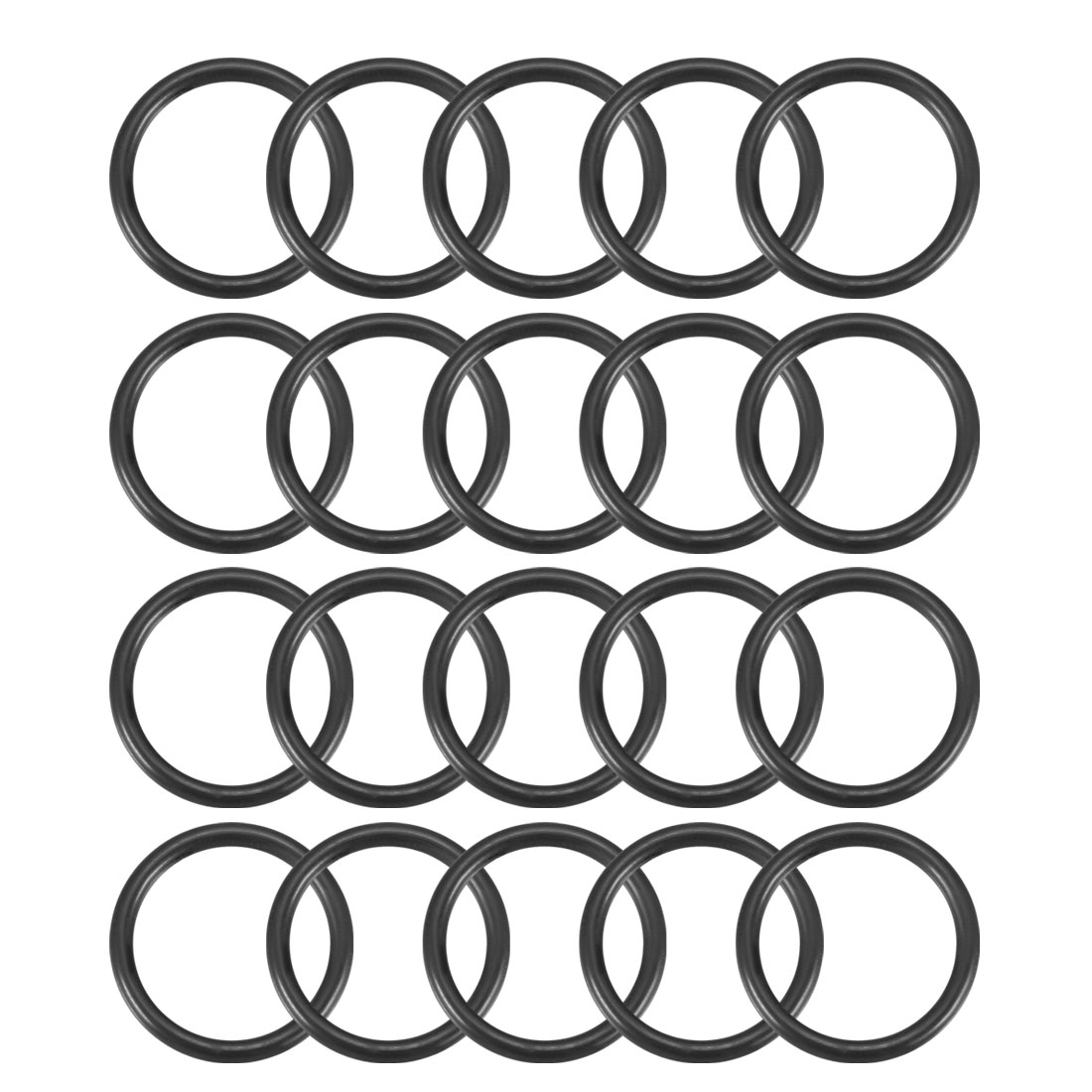 20Pcs Black 18 x 2mm Industrial Flexible Rubber O Ring Oil Sealing Grommets