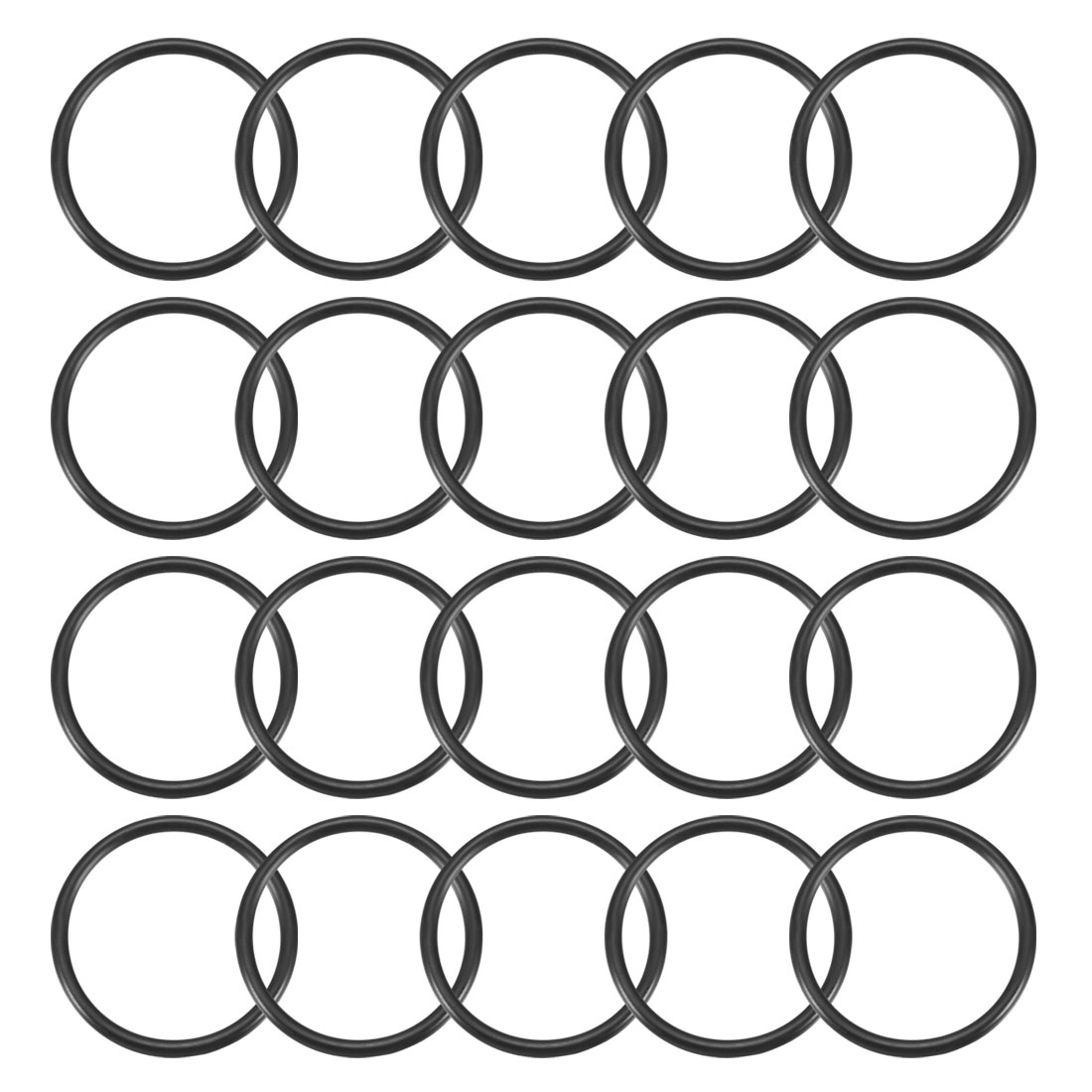 20Pcs Black 27 x 2mm Industrial Flexible Rubber O Ring Oil Sealing Grommets
