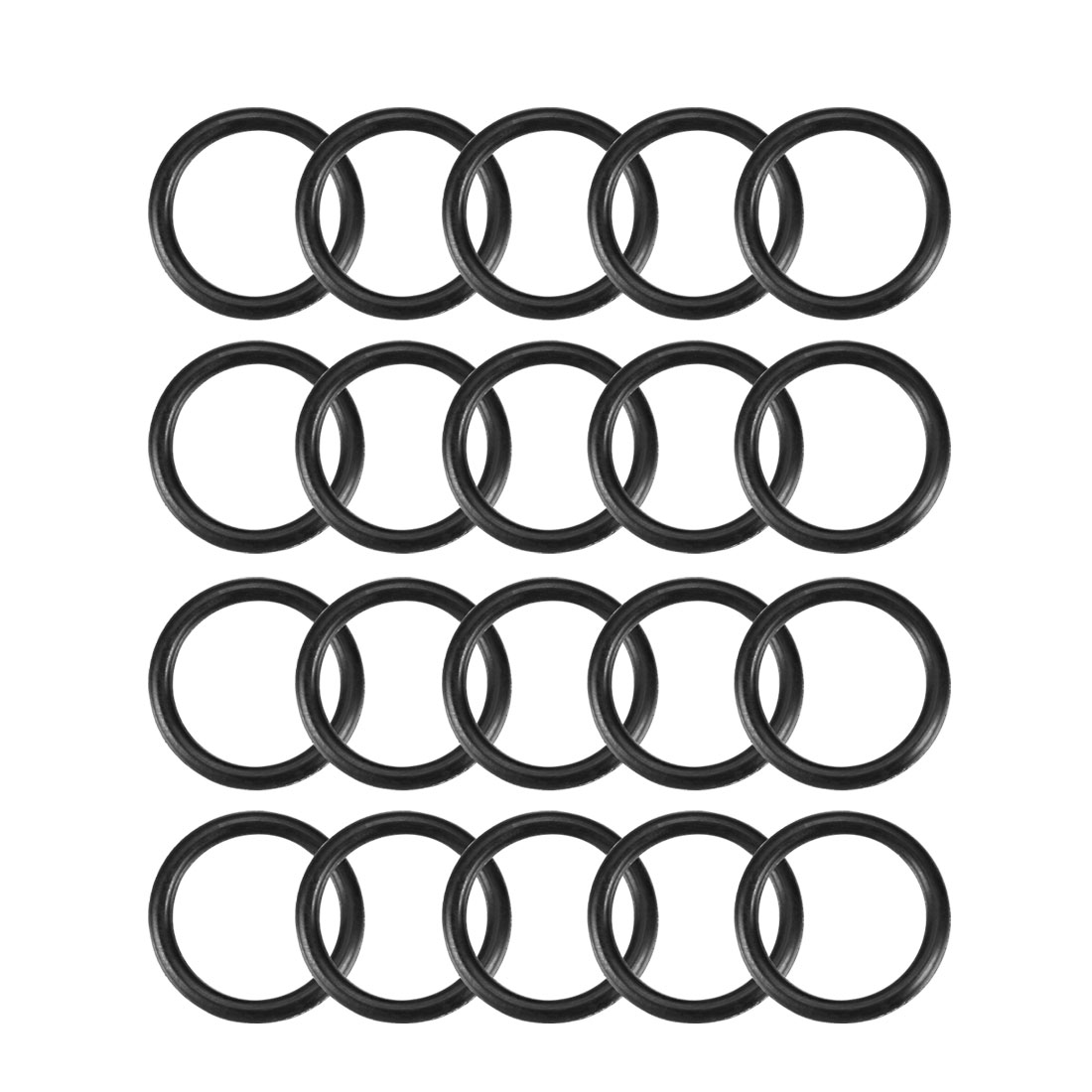 20 Pcs Black 17mm x 2mm NBR Oil Resistant Sealing Ring O-shape Grommets