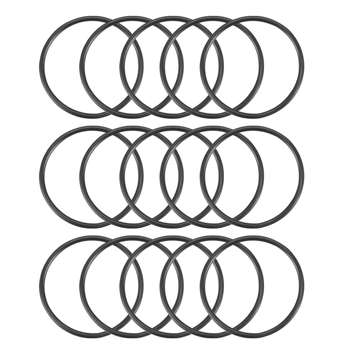 15Pcs Black 37 x 2mm Industrial Flexible Rubber O Ring Oil Sealing Grommets