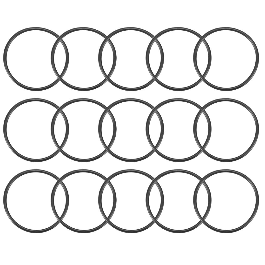 15Pcs Black 36 x 2mm Industrial Flexible Rubber O Ring Oil Sealing Grommets