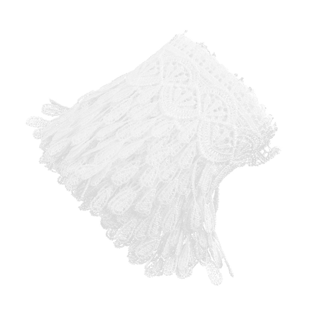 Home Polyester DIY Craft Dress Tassels Lace Trim Applique White 3.4 Inches Width