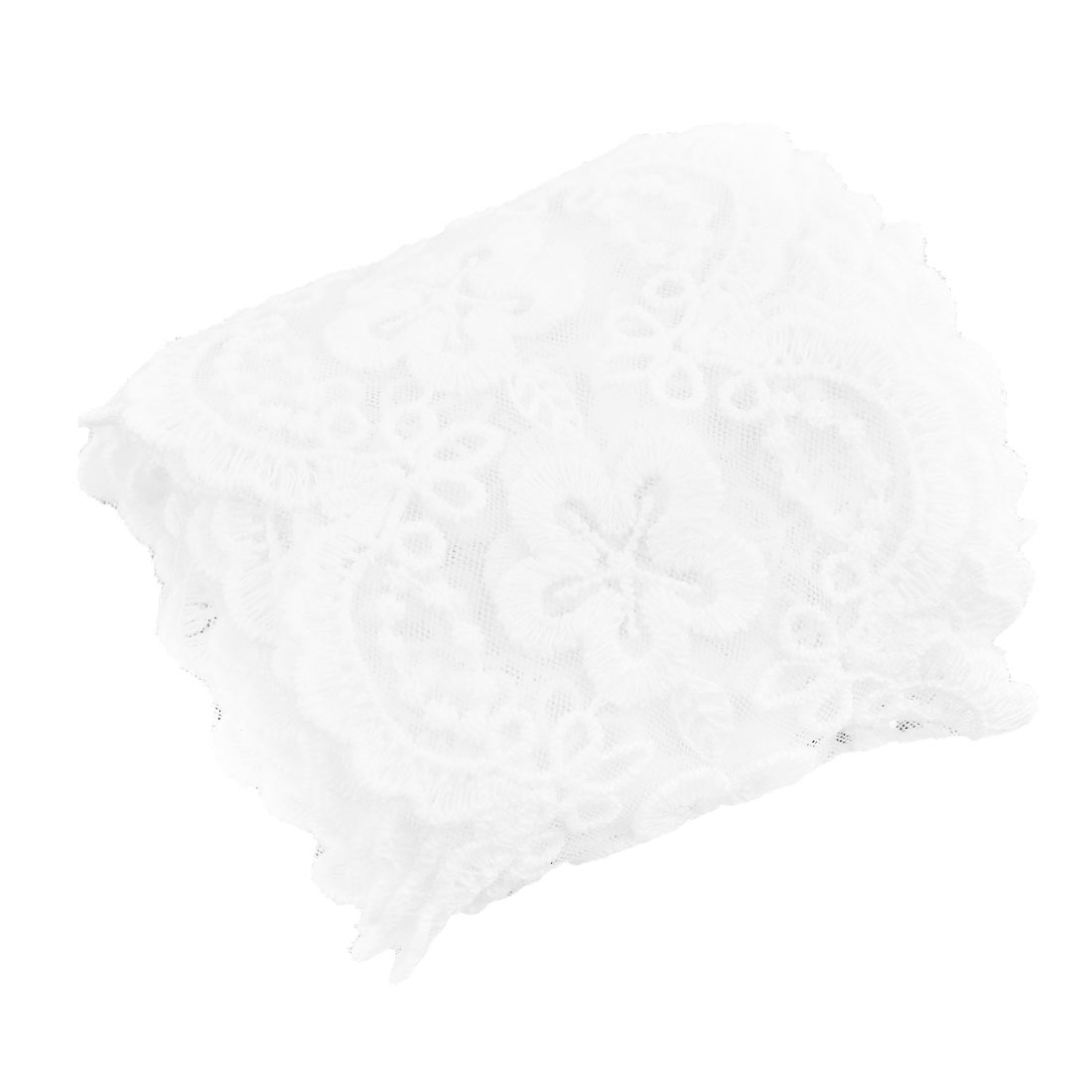 Polyester Fower Design Personalized Lace Trim Applique White 2.8 Inches Width