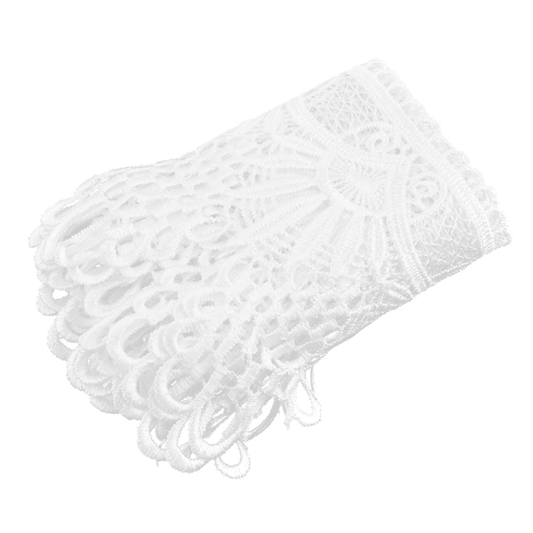 Family Polyester DTY Neckline Sewing Lace Trim Applique White 5.4 Inches Width