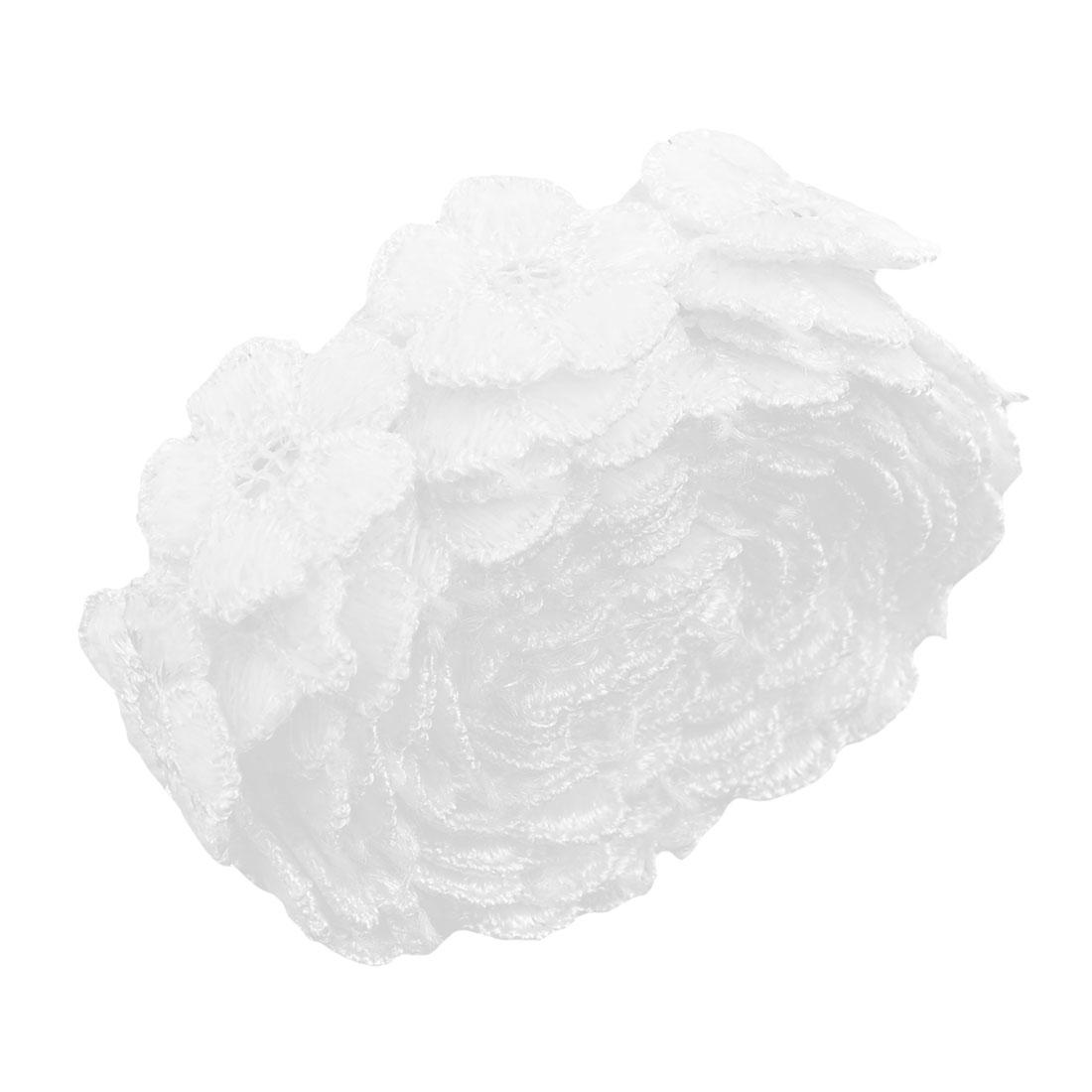 Polyester Floral Design DIY Wedding Dress Decor Embroidery Lace Trim Applique White
