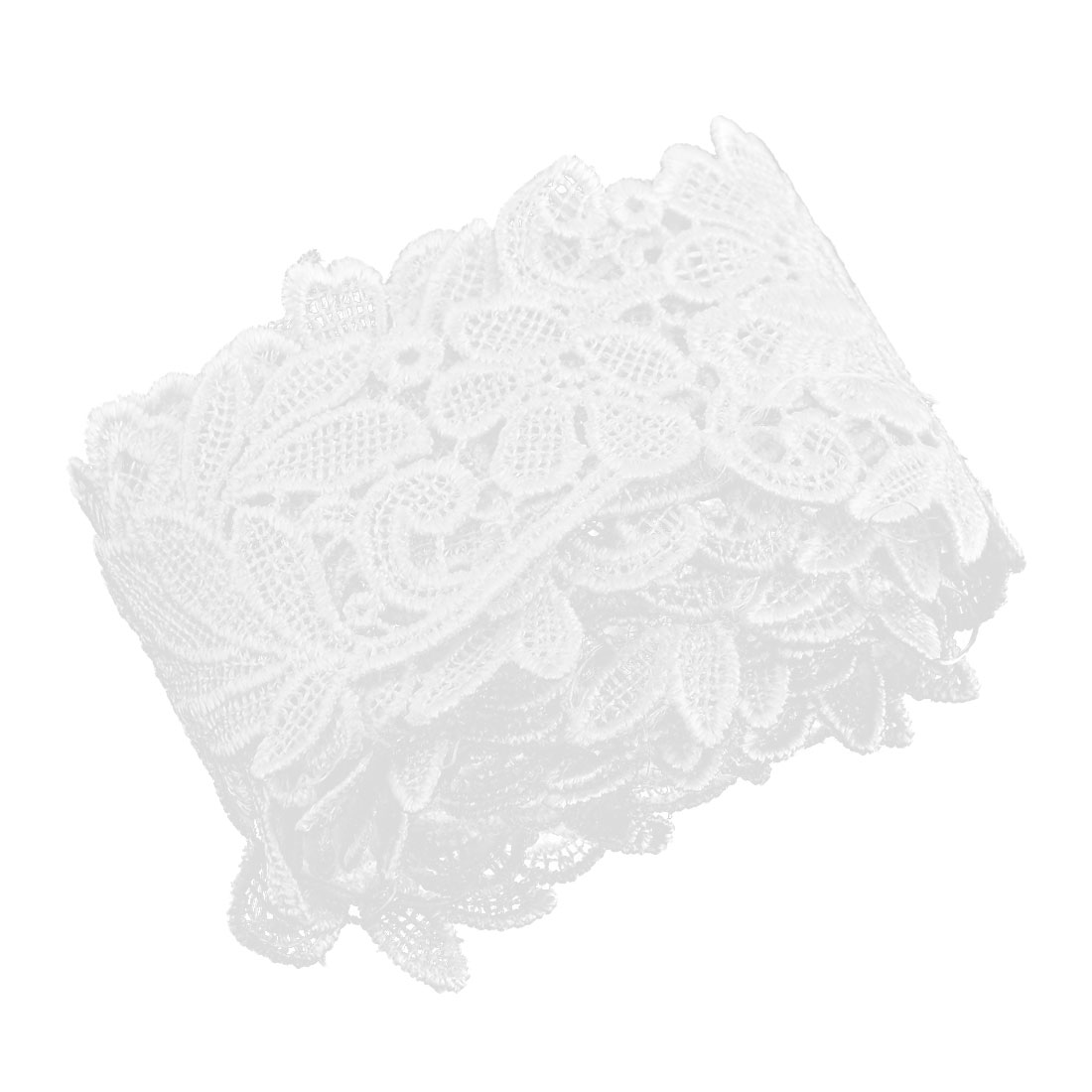 Home Polyester Fower Design Sewing Lace Trim Embroidered White 2 Inches Width