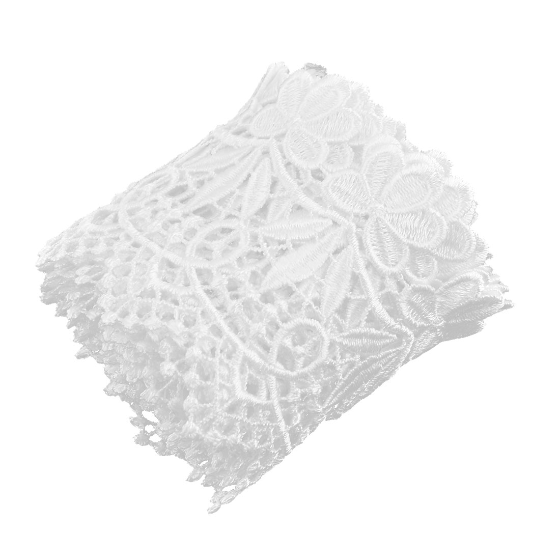 Home Polyester Fower Hollow Out Sewing Lace Trim Applique White 2.8 Inches Width