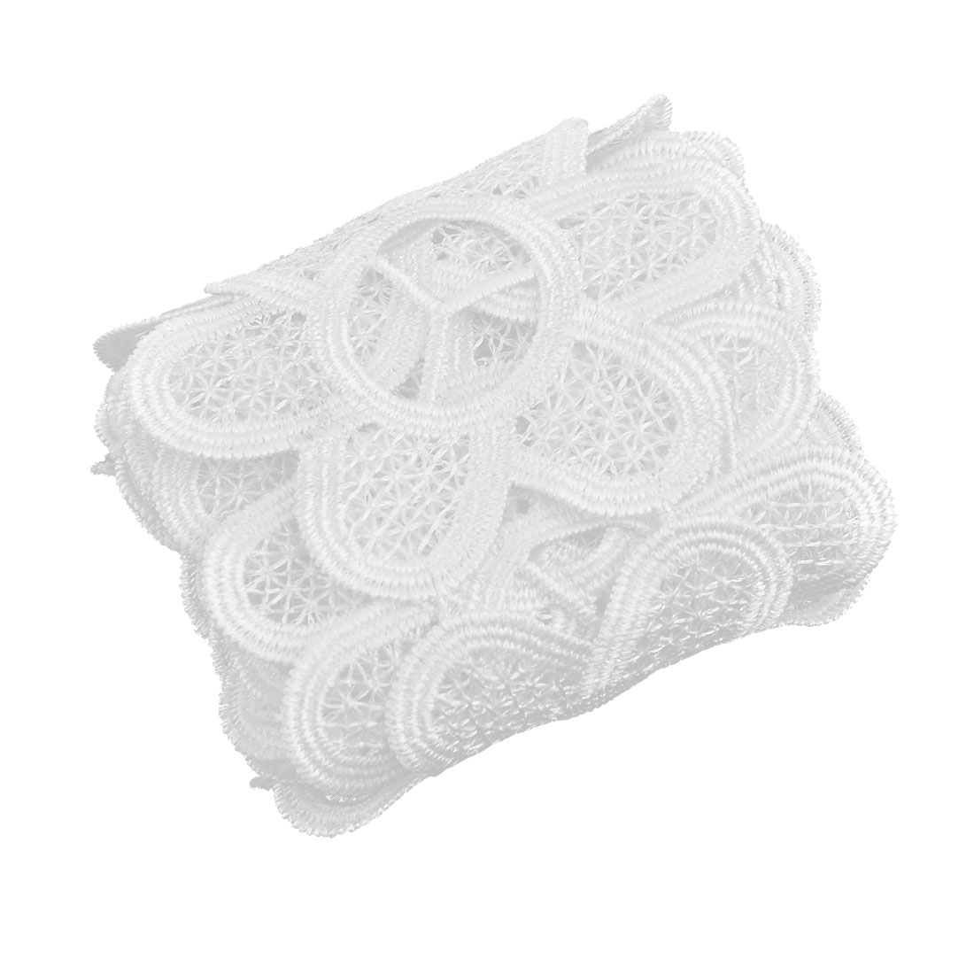Home Polyester Hollow Out DIY Craft Sewing Lace Trim Embroidered White 2.2 Yards