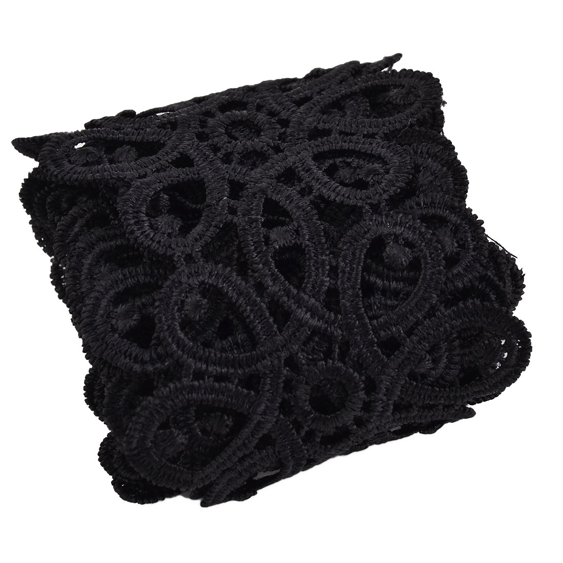 Party Polyester Hollow Out DIY Craft Sewing Lace Trim Applique Black 2.2 Yards