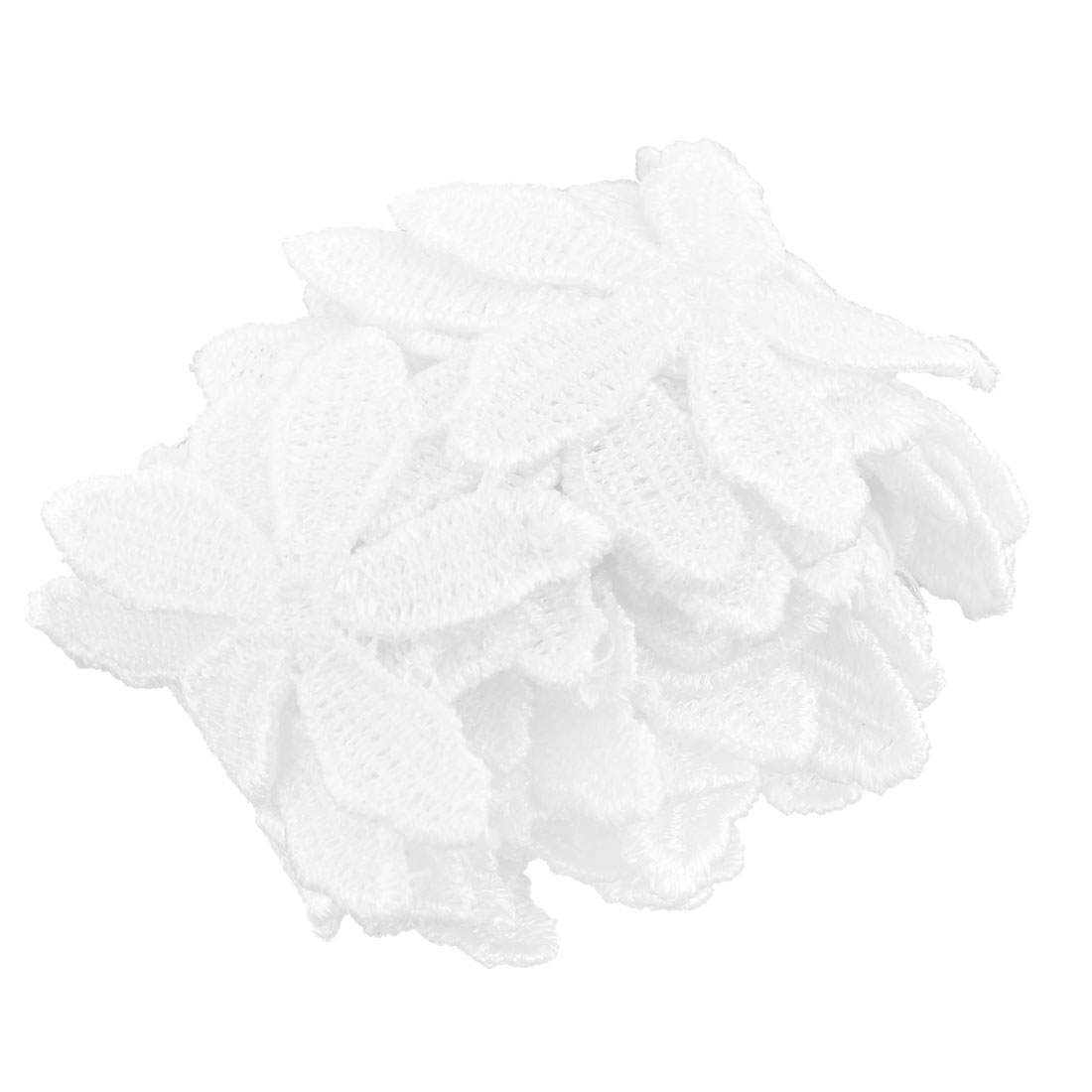 Home Polyester Fower Design Sewing Lace Trim Applique White 1.8 Inches Width