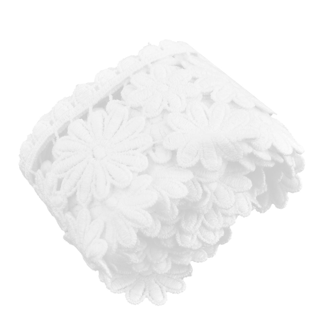 Family Polyester Fower Style Skirt Lace Trim Applique White 2.4 Inches Width