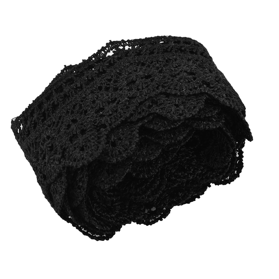 Party Polyester Craft Dress Decorative Lace Trim Applique Black 1.8 Inches Width