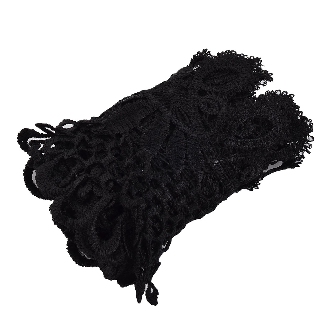 Wedding Polyester Hollowed Out Design DIY Lace Trim Applique Black 4.3 Inch Width