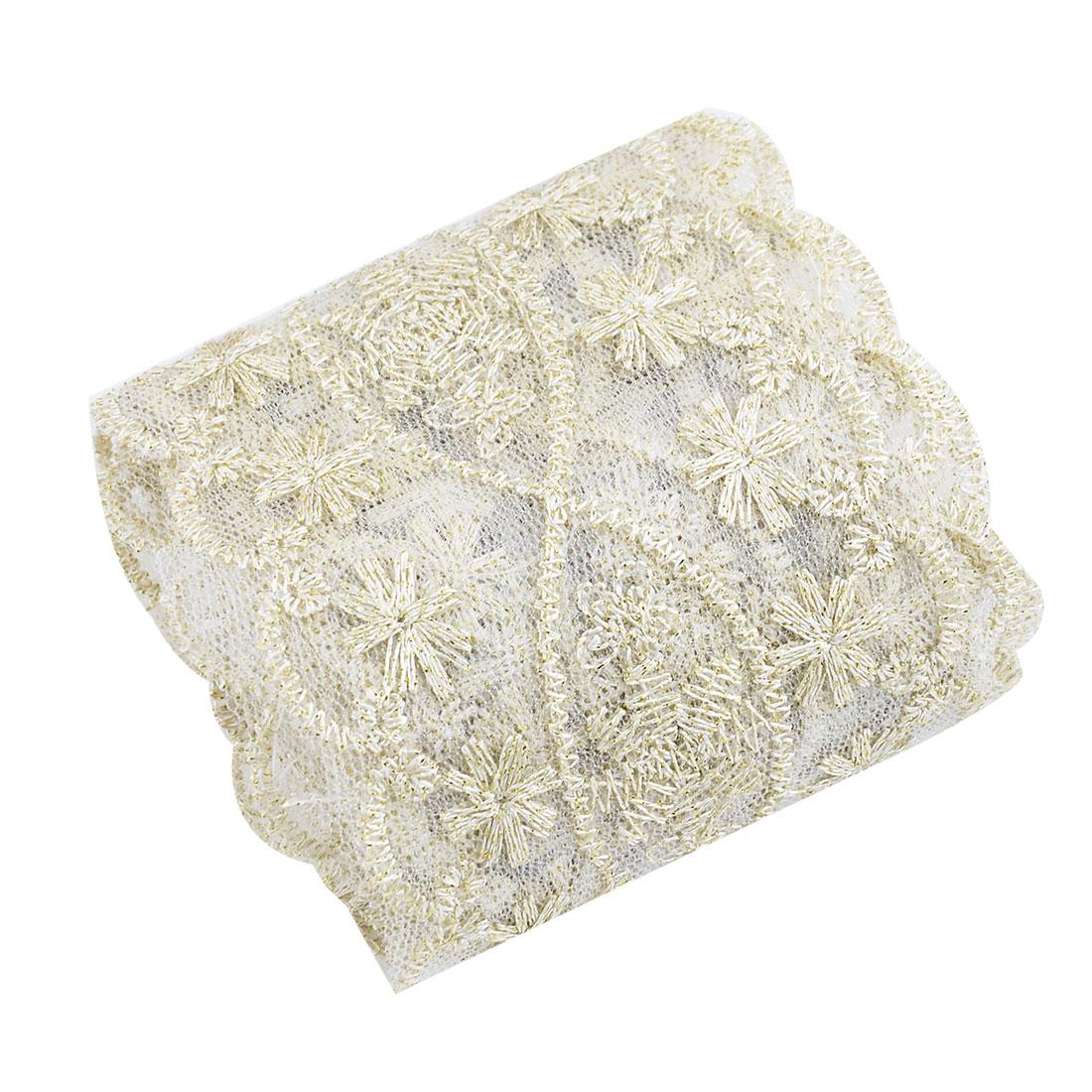 Polyester Floral Design DIY Clothes Patch Lace Trim Applique Gold Tone 2.2 Yards