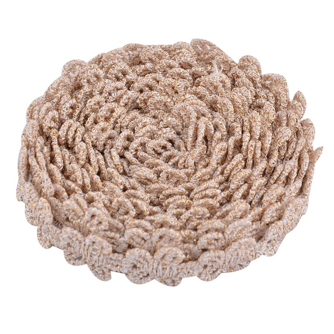 Polyester Flower Design DIY Neckline Decor Lace Trim Applique Champagne Color