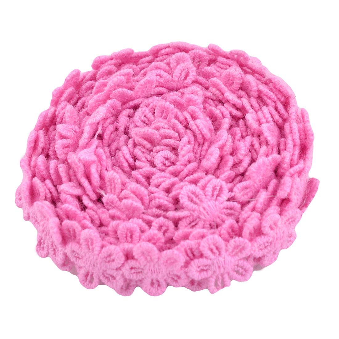 Home Cotton Blends Flower Design DIY Clothing Decorative Lace Trim Applique Pink